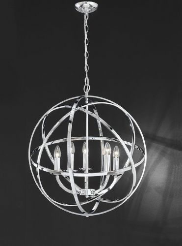Franklite FL2280/5 Chrome Pendant Light